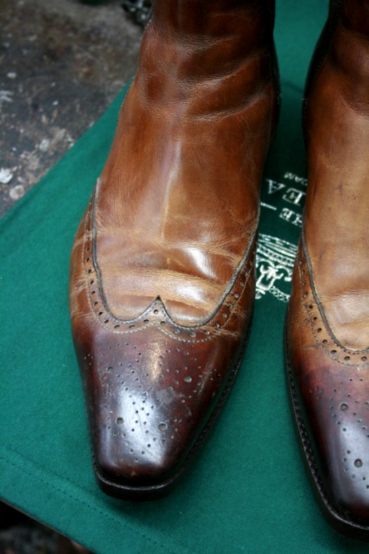 Santoni chelsea boots before The Royal Treatment