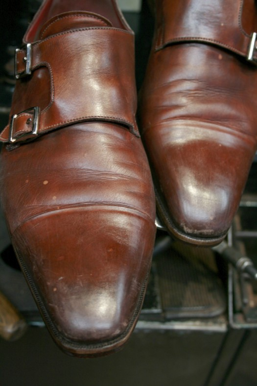 Santoni double monks before Premium Shoe Care+ treatment