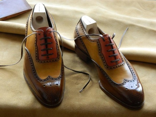 Saint Crispin's long wing full brogue derby, tricolore